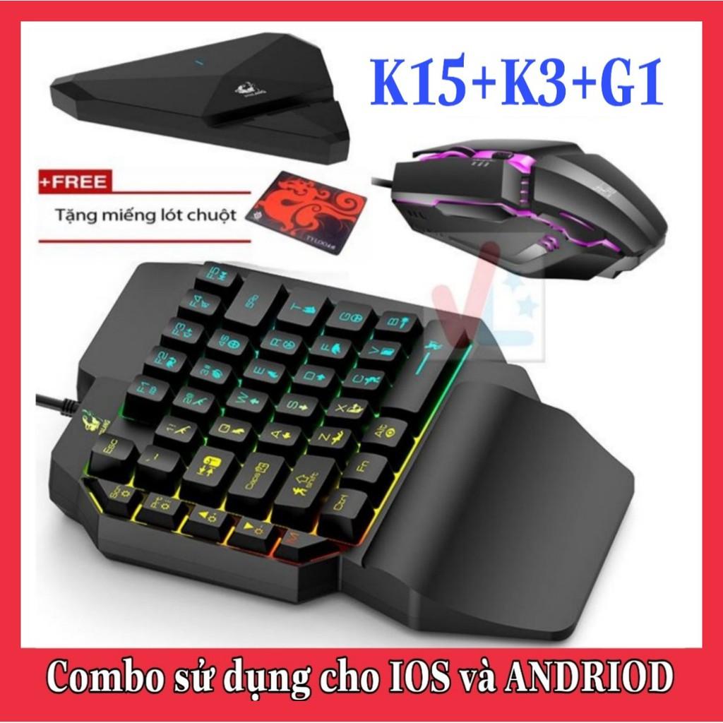 Combo Trọn Bộ Bàn Phím K15 + Chuột K3 + Hộp Chuyển Đổi G1 chơi game PUBG Mobile cho Android, IOS, iPad như PC - VL