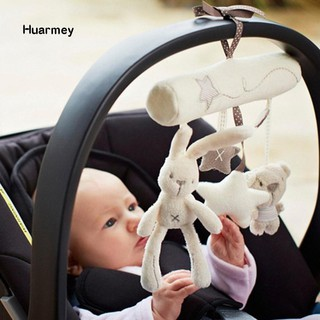 ★Hu Baby Cute Soft Rabbit Bear Stars Bed Stroller Boutique Car Hanging Plush Toys