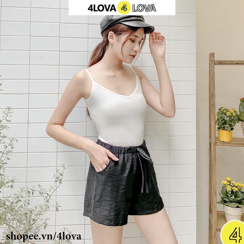 Áo 2 dây nữ cổ tim 4LOVA dây thun 100% cotton dáng ôm mềm mại thanh lịch thời trang