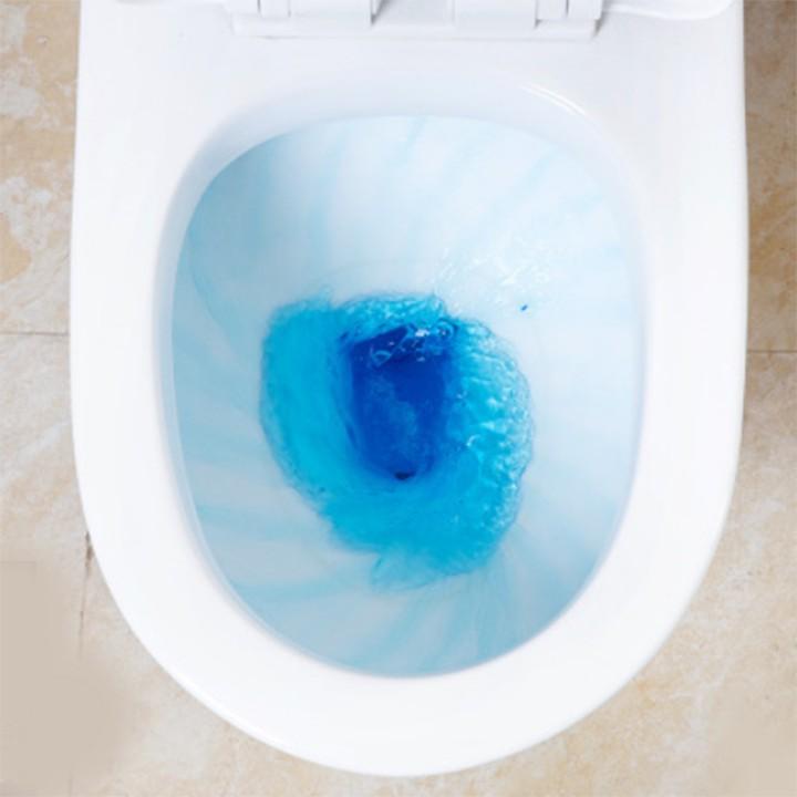 Viên tẩy bồn cầu toilet nhà vệ sinh bong bóng màu xanh khử mùi hôi diệt khuẩn chống ố vàng làm sạch hiệu quả dạng nén