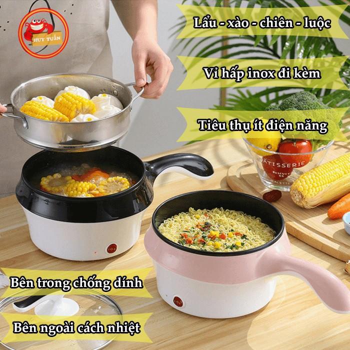 Nồi nấu mì❤️MINI ĐIỆN ĐA NĂNG, nấu cháo cho bé, kèm giá hấp 2 tầng Chiên Hấp Lẩu Rán nướng NL01