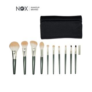 Bộ 10 cọ trang điểm NOX đánh phấn màu xanh lá cây thumbnail