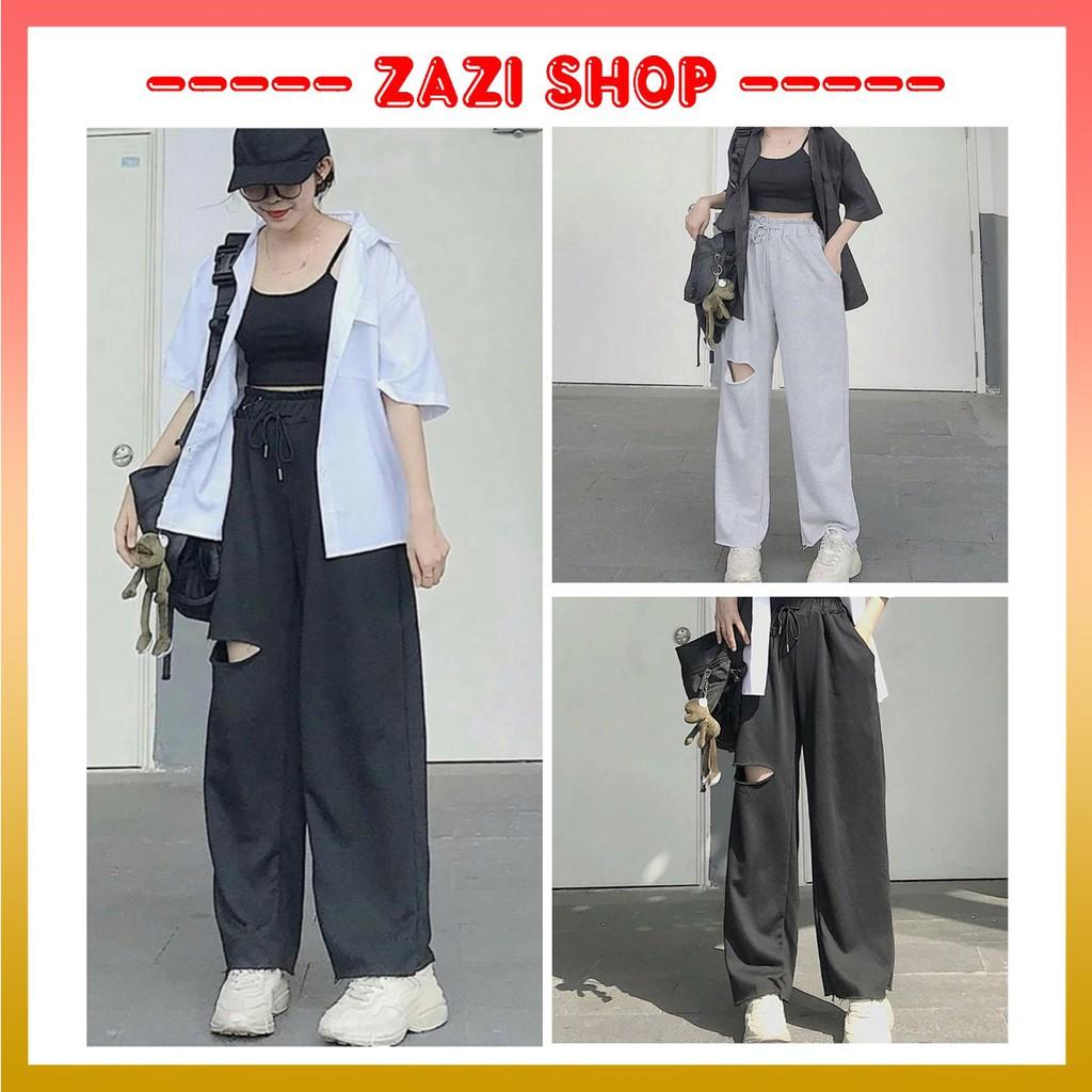 Quần ống rộng nữ  Quần ống rộng nữ, quần ống rộng rách đùi  Quần baggy nữ  Quần baggy nữ lưng cao - ZaZi QD03