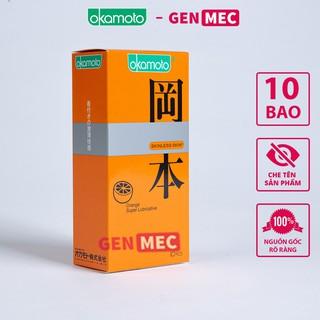Bao cao su Siêu Mỏng Okamoto Orange Super Lubricative Skinless Nhiều GeL Bôi Trơn – BCS Okamoto Hộp 10 bao -Genme