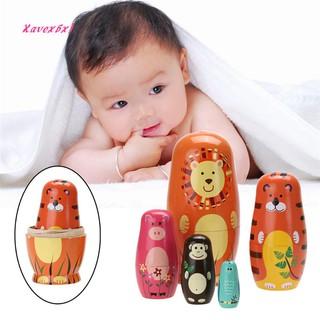 XA_5Pcs Cute Wooden Cartoon Animal Russian Nesting Dolls Toys Kids Gift Home Decor