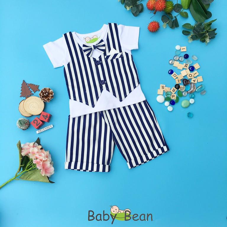 Set Gile Kẻ Sọc Đính Nơ Phong Cách Hàn Quốc Dành Cho Bé Trai BabyBean