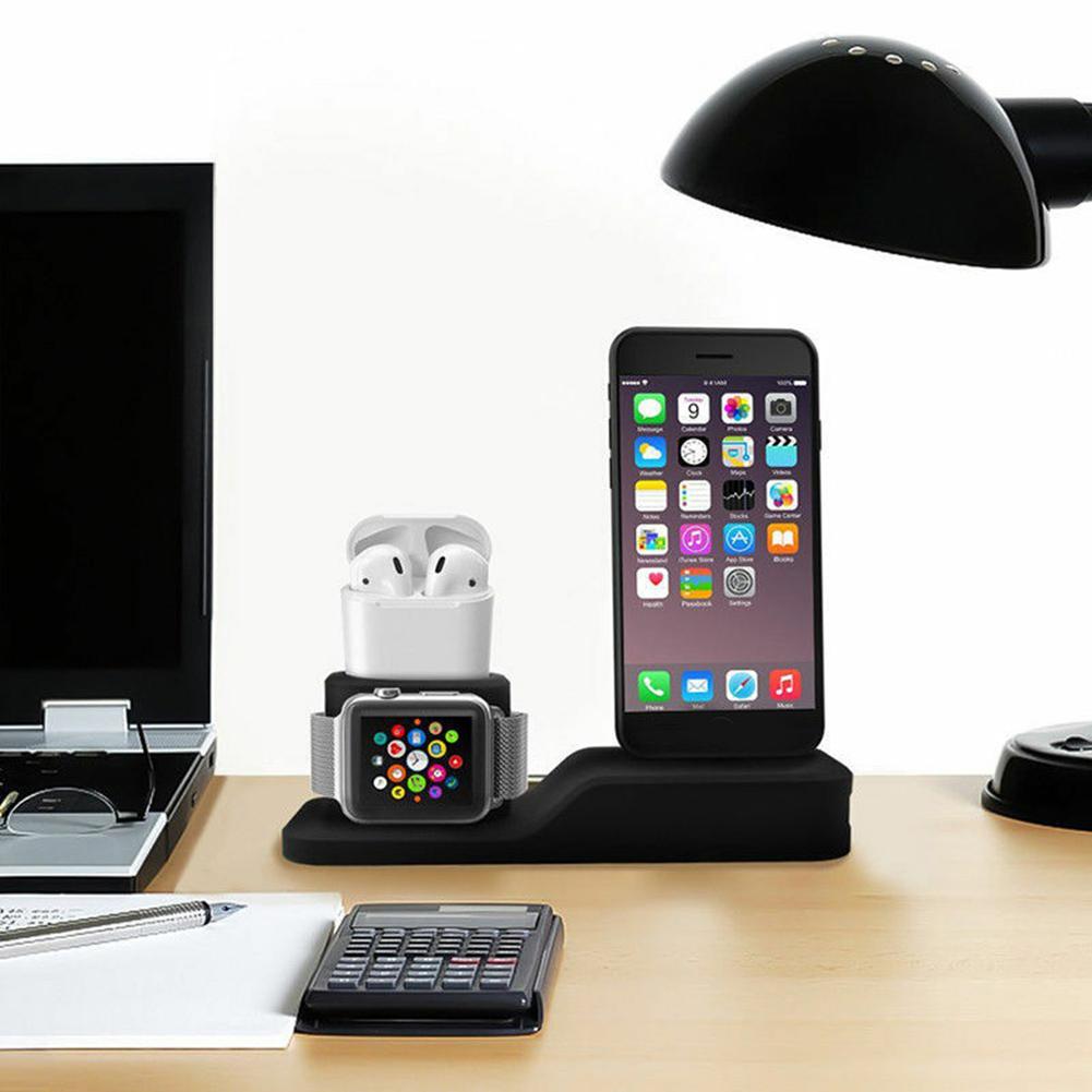 IPHONE Đế Sạc Bằng Silicone 3 Trong 1 Tiện Dụng Cho Iwatch / Airpods
