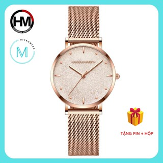 Đồng hồ nữ siêu mỏng HANNAH MARTIN HM-MS36 chính hãng máy Nhật cao cấp dây thép sang trọng cá tính thumbnail