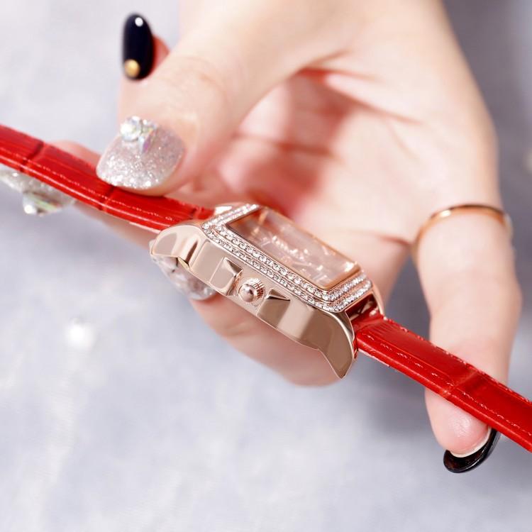 Đồng hồ nữ Scottie S9040 hàng chính hãng dây da mặt vuông viền đá
