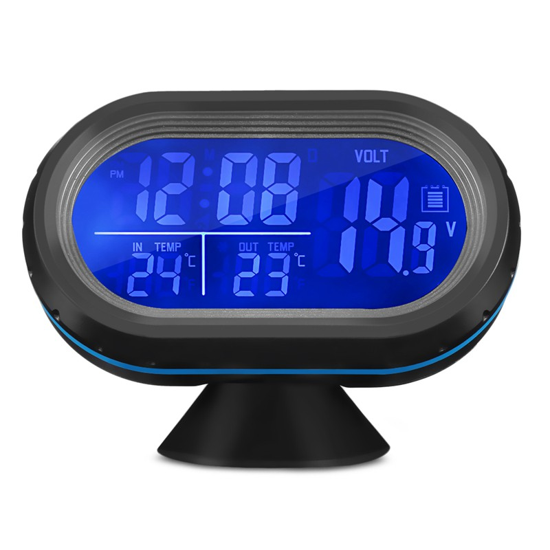Vst 7009V Car Digital Clock with Thermometer and Automotive Voltmeter 2 in 1 Led Dual Color Backlight Frost Alarm Sn