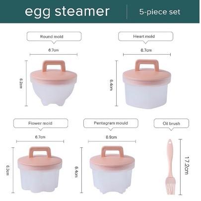 Khuôn hấp trứng, làm bánh cho bé (bộ 4 khuôn tặng kèm chổi silicon quét dầu)
