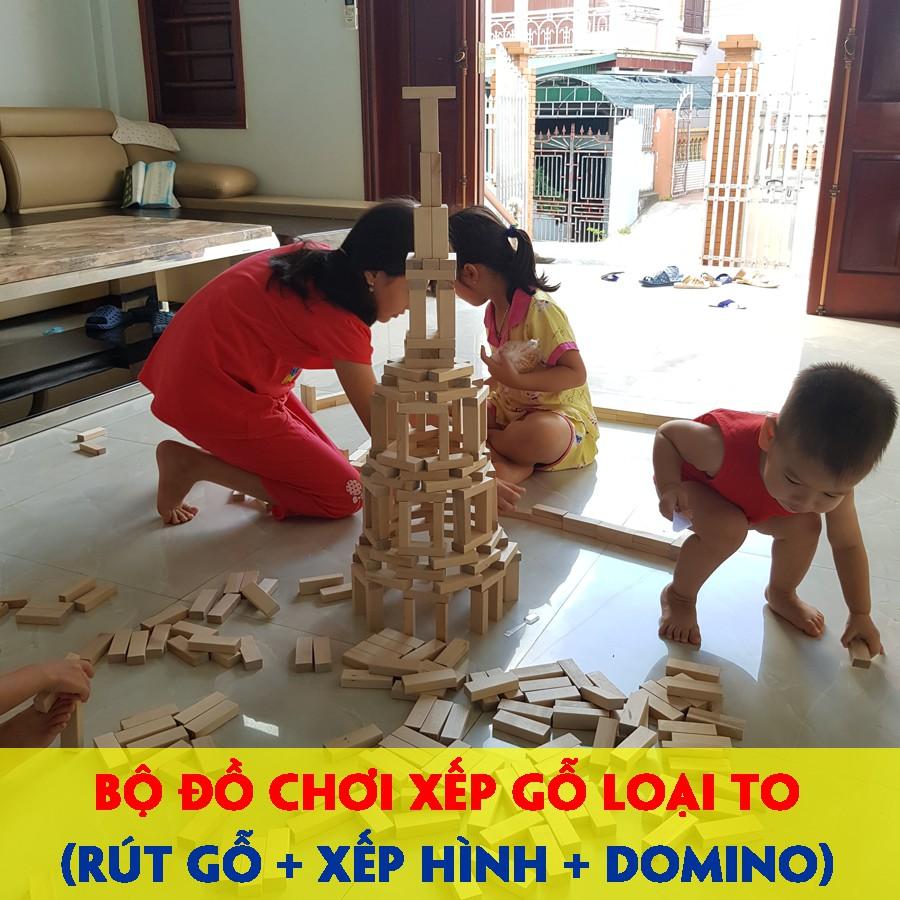 Thanh gỗ xếp hình đồ chơi Cao cấp 3 trong 1 rút gỗ – xếp hình – Domino phát triển tư duy – logic – sáng tạo