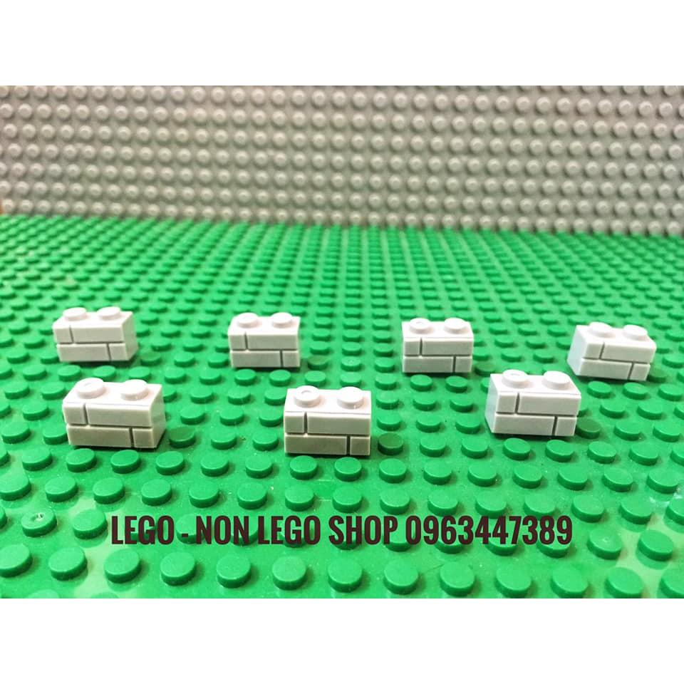Lego part gạch vân tường 1×2 xám nhạt ( 10c )