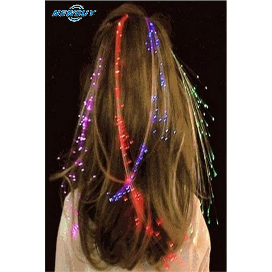 LED Fiber Optic Headband Hairpin Clip Light-Up Braid Hair Braids Rave Party