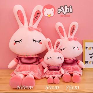 Gấu bông thỏ hồng nhắm mắt 75cm xinh xắn dễ thương, quà tặng thú bông hình thỏ