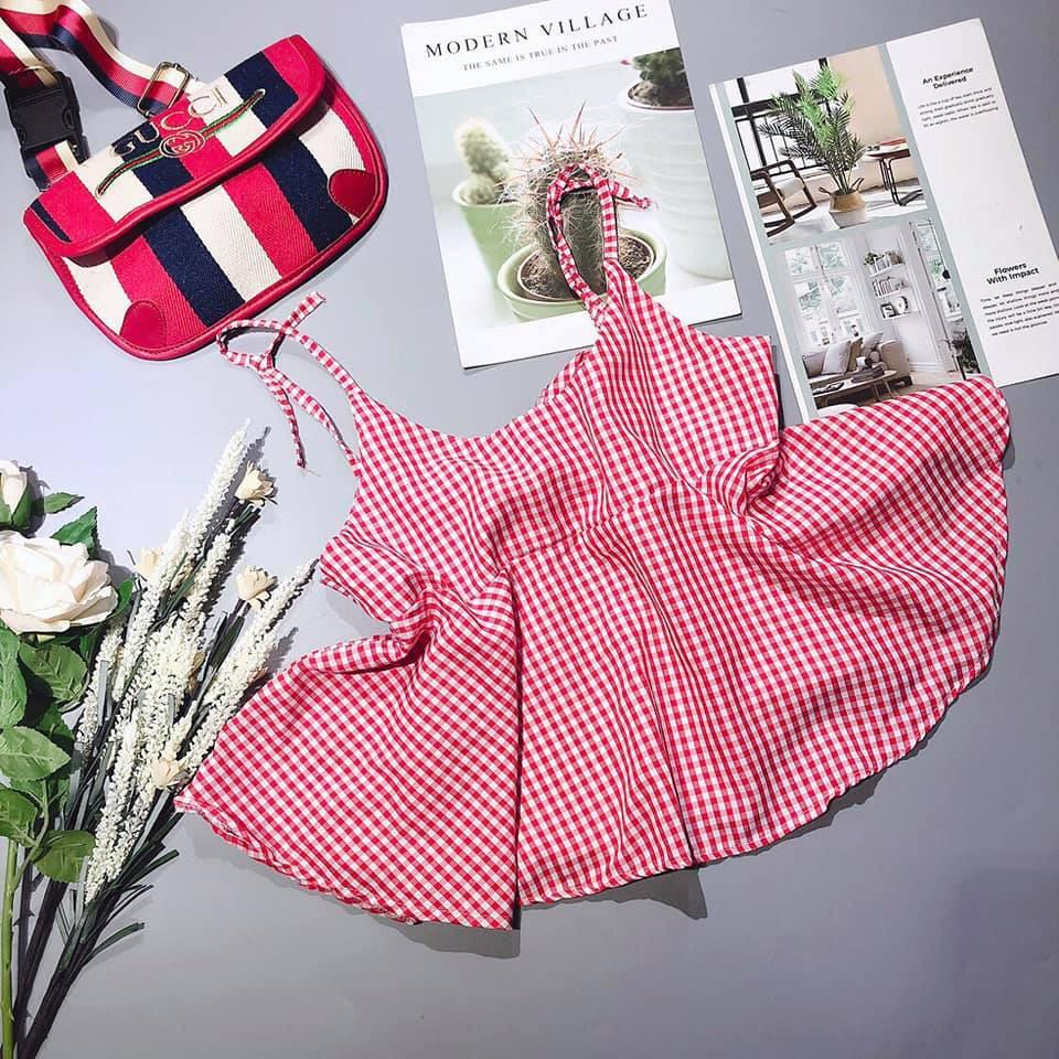 Áo 2 Dây Baby Doll Kẻ Caro