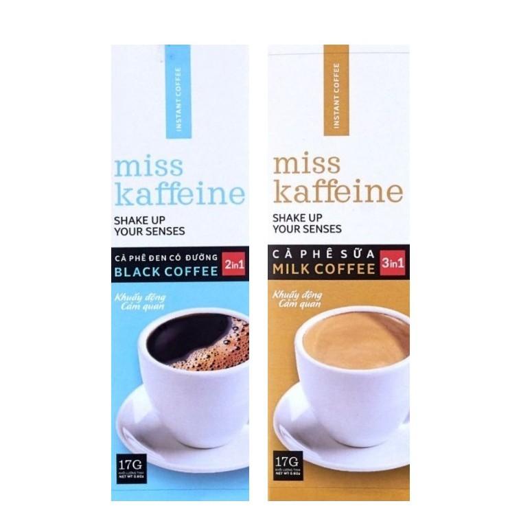 02 gói Cà phê hòa tan MISS KAFFEINE 2in1 và 3in1- Cà phê đen có đường và cà phê sữa- The Kaffeine Coffee