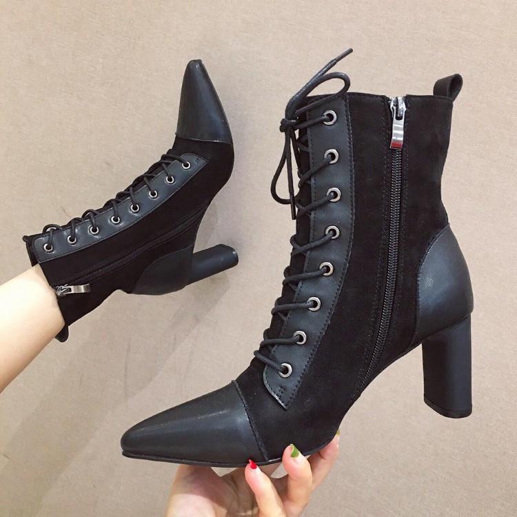 Giày boot cao gót thắt dây phong cách trẻ trung dành cho nữ
