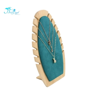 Bamboo Wood Jewelry Display Stand Necklace Showcase Holder Pendant Long Chain Hanging Organizer Rings Necklace Board 3
