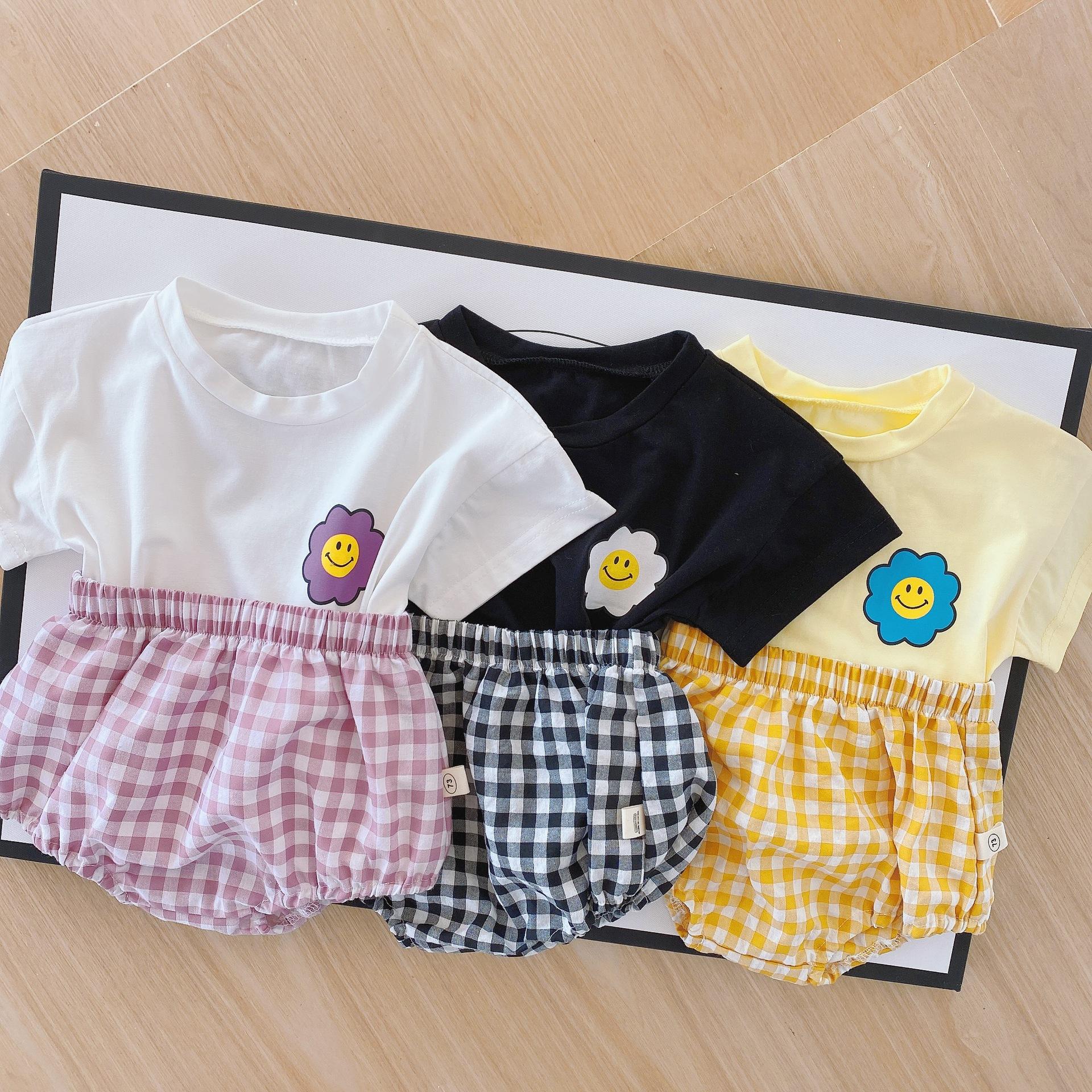 Baby 2 PCs Newborn Flower Print Tops+Plaid Shorts Pants Set Summer Short Sleeve Clothes