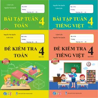 Sách - Combo Bài Tập Tuần và Đề Kiểm Tra Toán và Tiếng Việt 4 - Học Kì 2 (4 cuốn)