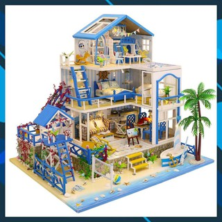 Mô hình nhà búp bê gỗ DIY Mô hình nhà búp bê lắp ghép có đèn Romantic Aegean Sea Toy World thumbnail
