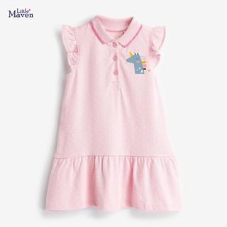 Váy polo Little Maven hồng pony