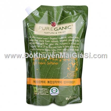 Bịch nước xả vải hữu cơ cao cấp Pureganic Hàn Quốc 1500 ml có vòi rót.