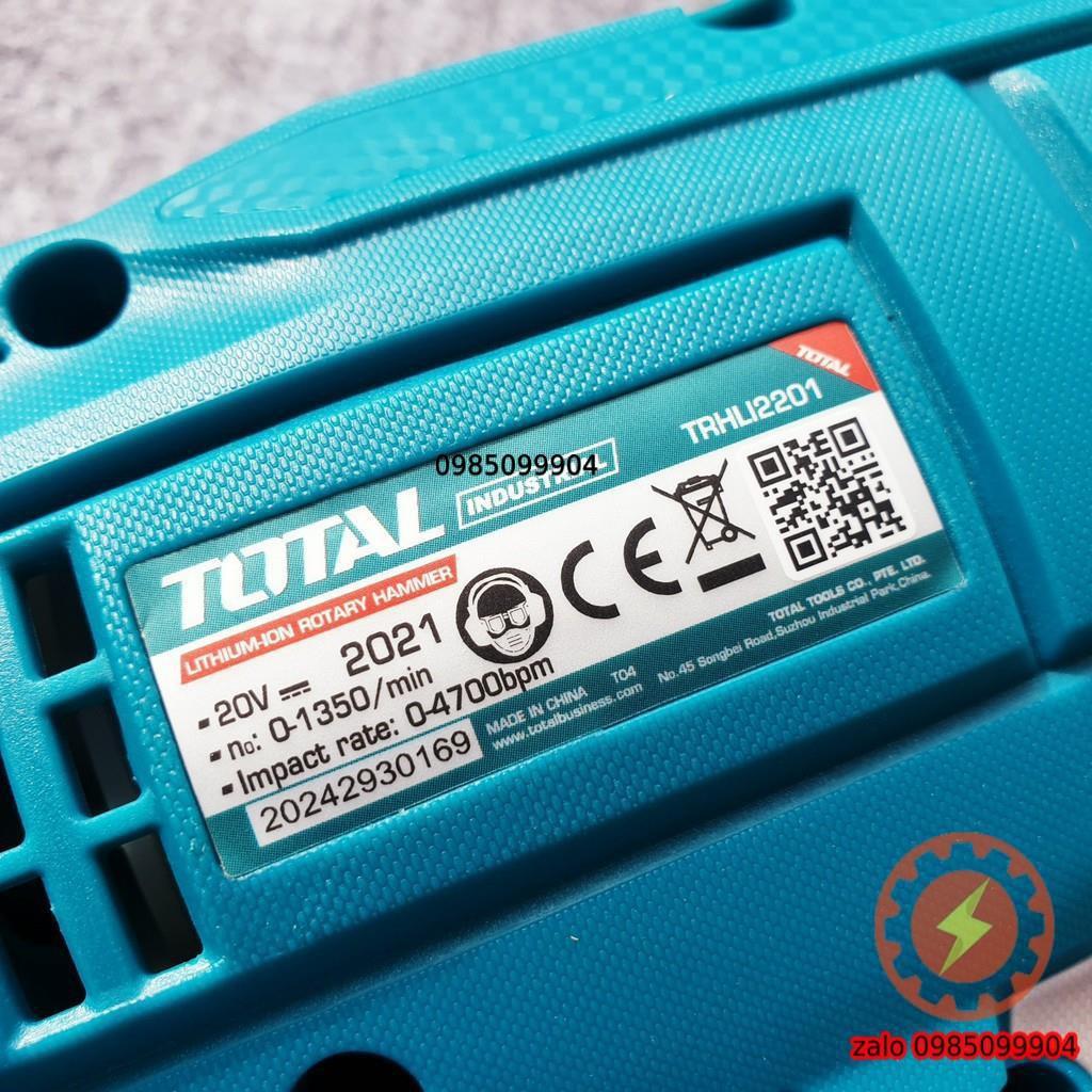 Máy khoan pin 3 chức năng không chổi than 20V Total TRHLI2201 đuôi gài SDS  | có thể lắp rút lõi tường gạch bê tông