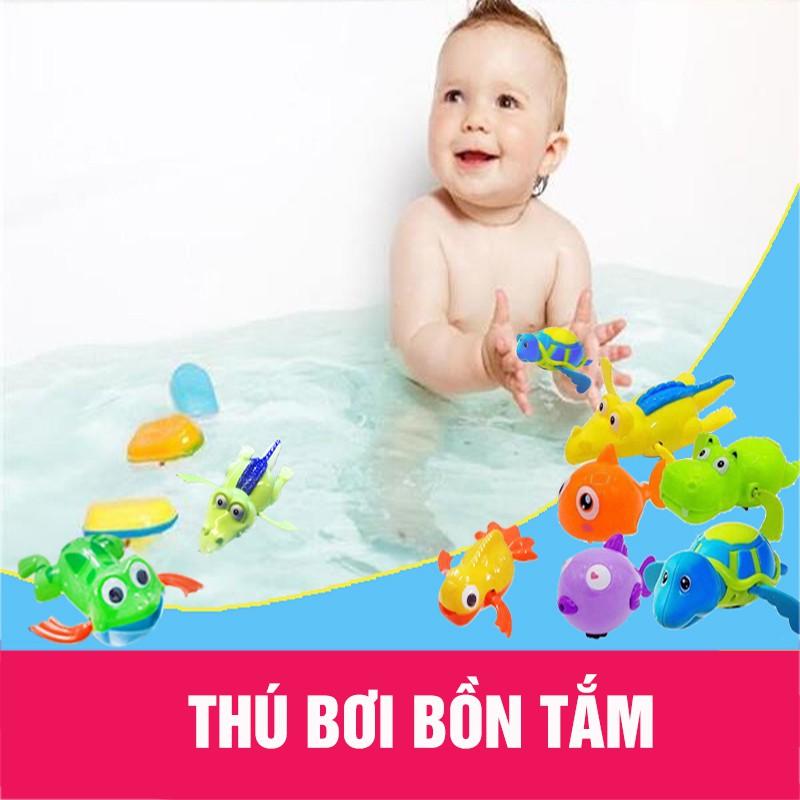 Combo 10 thú bơi dây cót thả bồn tắm cho bé (vặn cót)