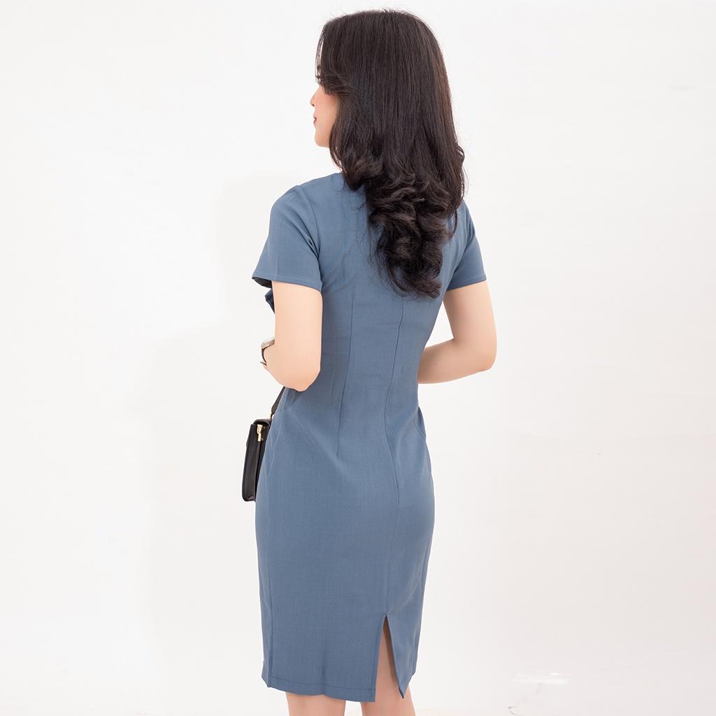 Mặc gì đẹp: Sang trọng với [Mã INCU50 giảm 50k đơn 250k] Đầm Công Sở Thiết Kế Body Nơ Eo tay ngắn Nữ trơn màu Xanh cao cấp Trung Niên AMYRA DA721