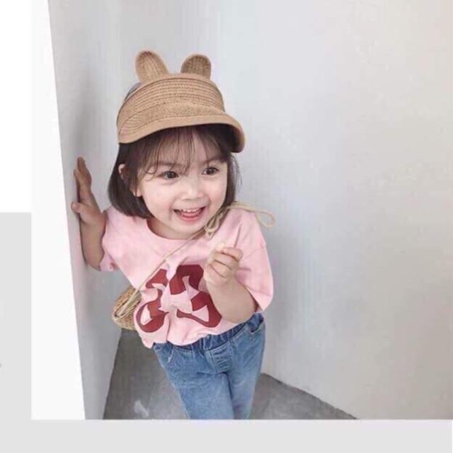 Mũ cói cho trẻ siêu mát va dễ thương