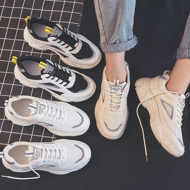 Giày Thể Thao Nam Sneaker Tăng Chiều Cao Đế Cao Su Phối Da Êm Nhẹ Mẫu Mới 2021 Hai Màu - EM029
