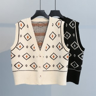 2021 spring sweater cardigan sleeveless tank top Vest Women's retro National style student knitted top vest