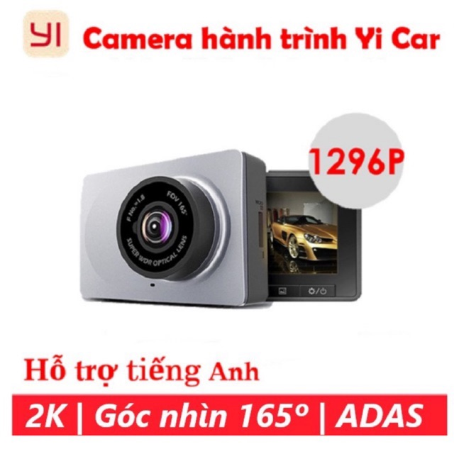 Yi 2k Xiaomi Camera hành trình ô tô xe hơi Xiaomi Yi 2k 1296p góc rộng 165 độ giao diện tiếng Anh kèm thẻ nhớ tốc độ cao