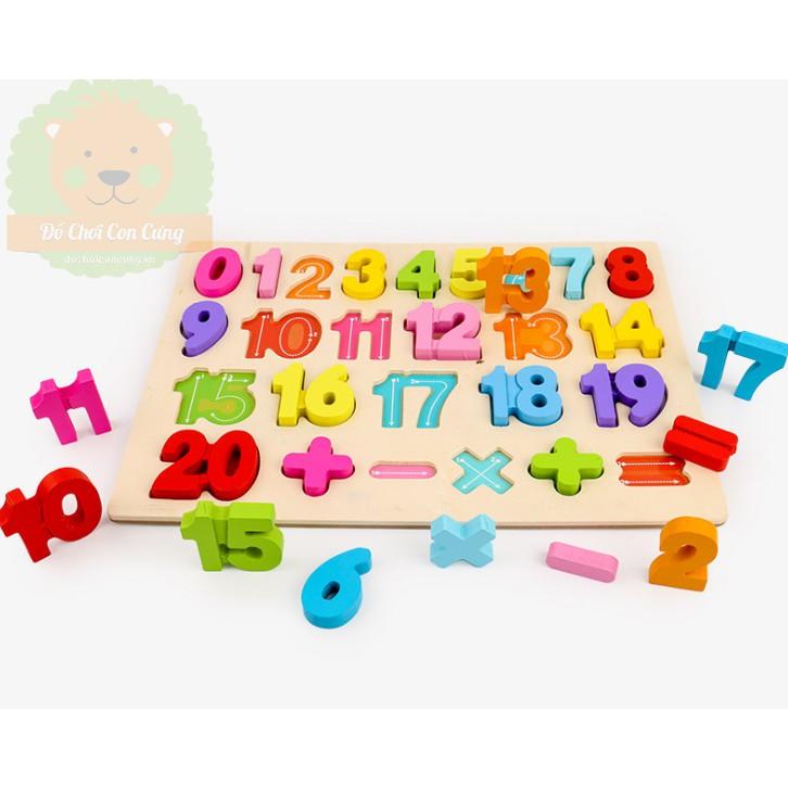 Bảng gỗ ghép hình chữ số đủ màu cho bé DCG03 (đồ chơi học tập)