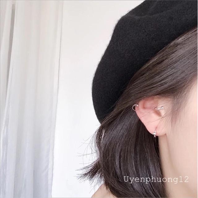 (ĐỌC KĨ TRƯỚC KHI MUA) 1 chiếc Khuyên tai bông tai khoen tròn bi bạc đeo vành sụn
