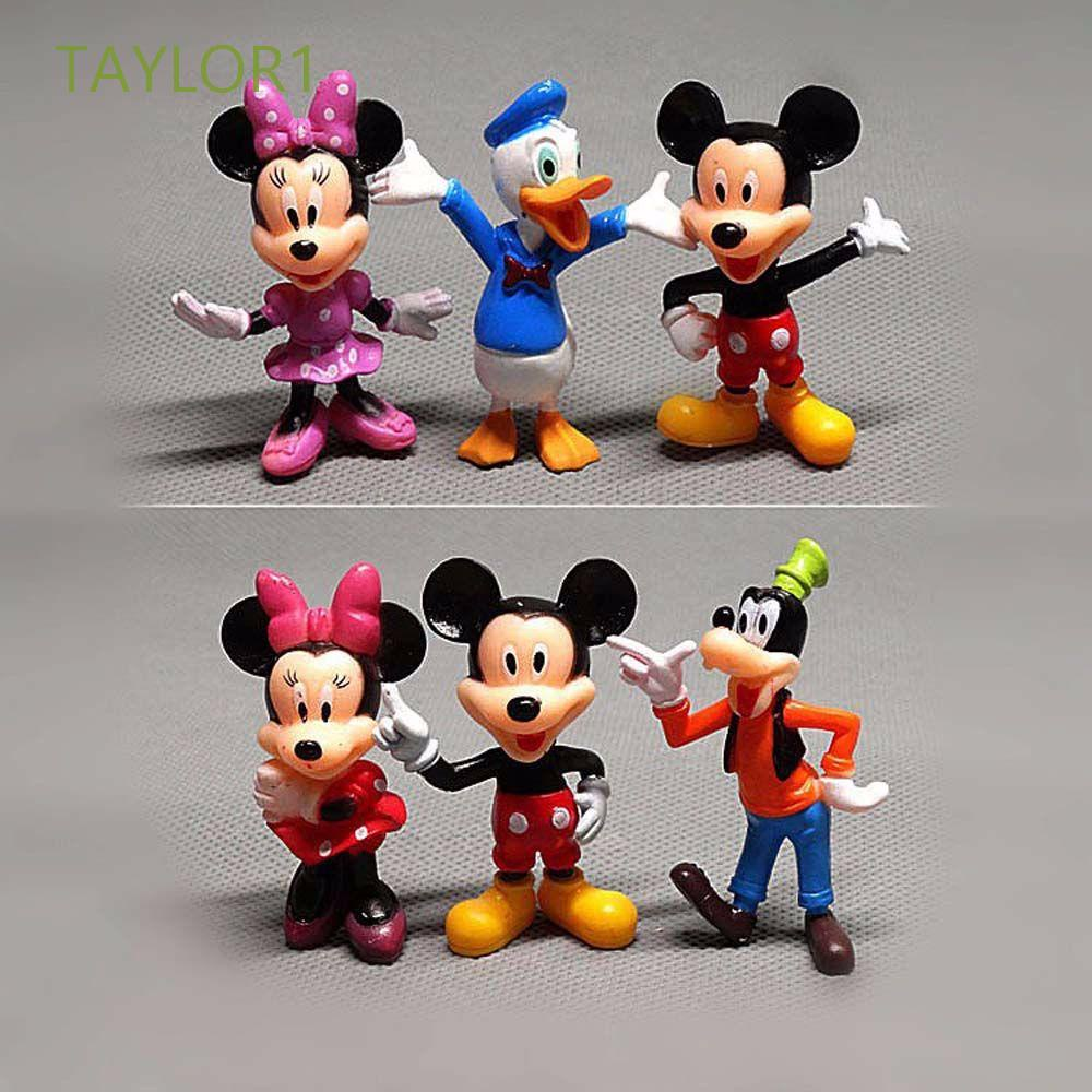 TAYLOR1 6pcs/set Minnie Mouse Cartoon Action Figure Mickey Mouse Christmas Figures Model Anime Peripheral Cake Decorations Doll Toys Children Gift Collectible Model