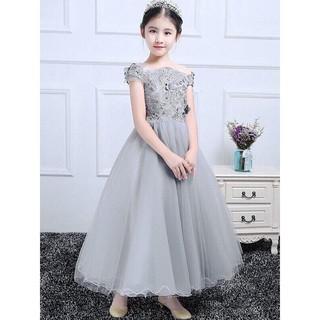 Đầm bé gái xám trễ vai sang trọng 💃 Freeship + Tặng quà 💃 Váy đầm công chúa cao cấp Titikdis new 2020