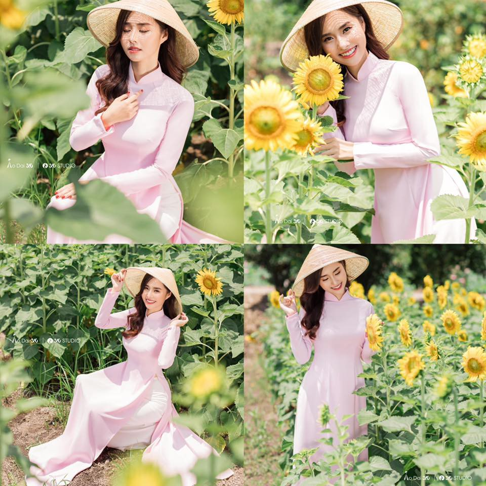 Áo dài màu hồng phấn_Chaang_May sẵn áo dài 4 tà truyền thống, vải áo dài lụa tằm