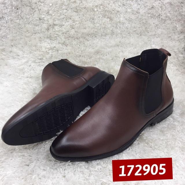 Giày Chelsea Bot - Màu Nâu Ám Patina-  Da Bò Nguyên Tấm  - Đế Cao Su - Bảo Hành 12 Tháng