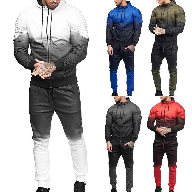 Wandergo Wholesale Men Fashion 3D Print Set Pleated Sweatshirt +Pants Suits