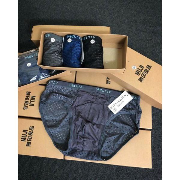 Quần sịp chéo chất thông hơi xuất Nhật, quần lót nam Muji fullbox, hộp 4 chiếc