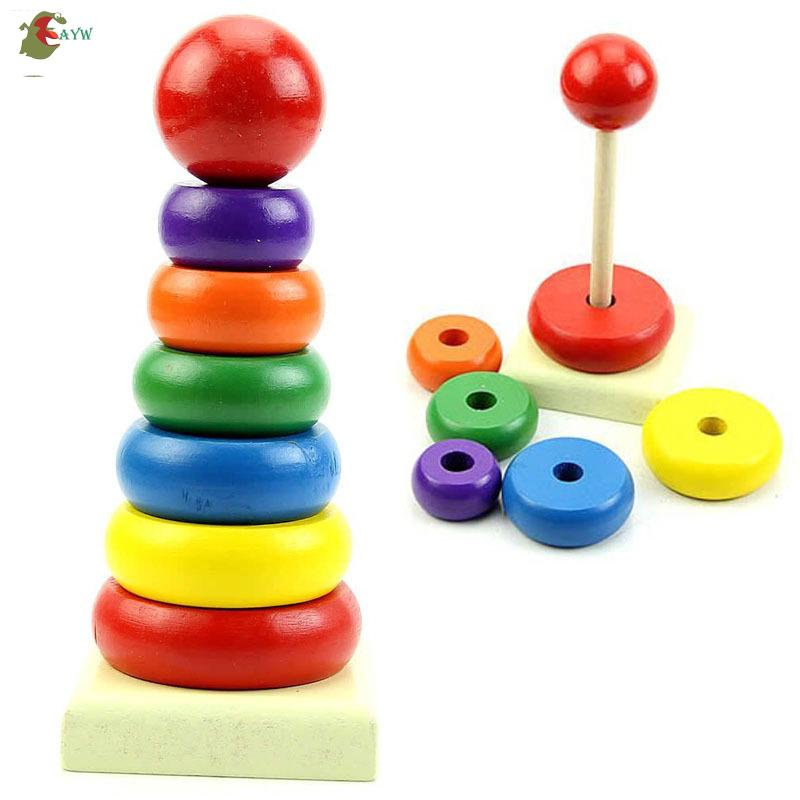 AYW❤ Kid Baby Wooden Stacking Stack Up Rainbow Tower Ring Educational Toy