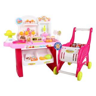 Bộ đồ chơi xe đẩy siêu thị kèm quầy bán kem dùng pin 2 trong 1 cho bé