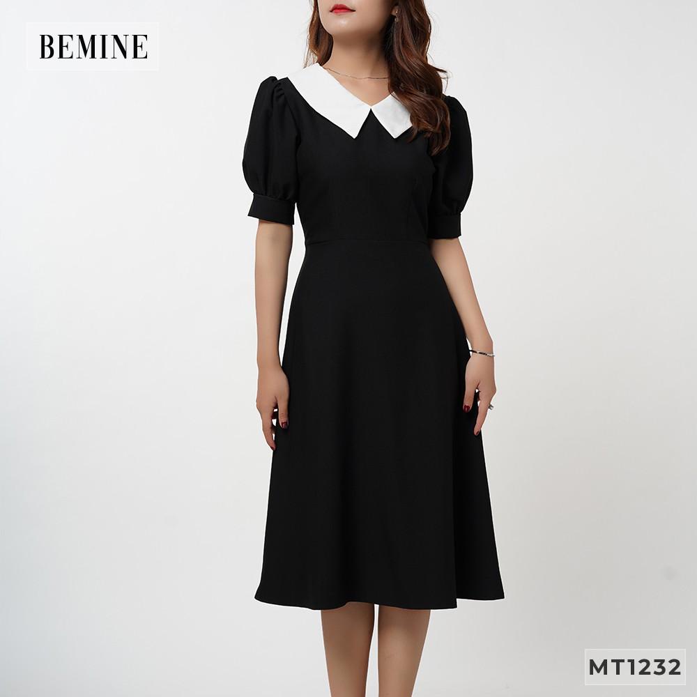 Đầm xòe tay ngắn cổ phối trắng BEMINE MT1232DEN