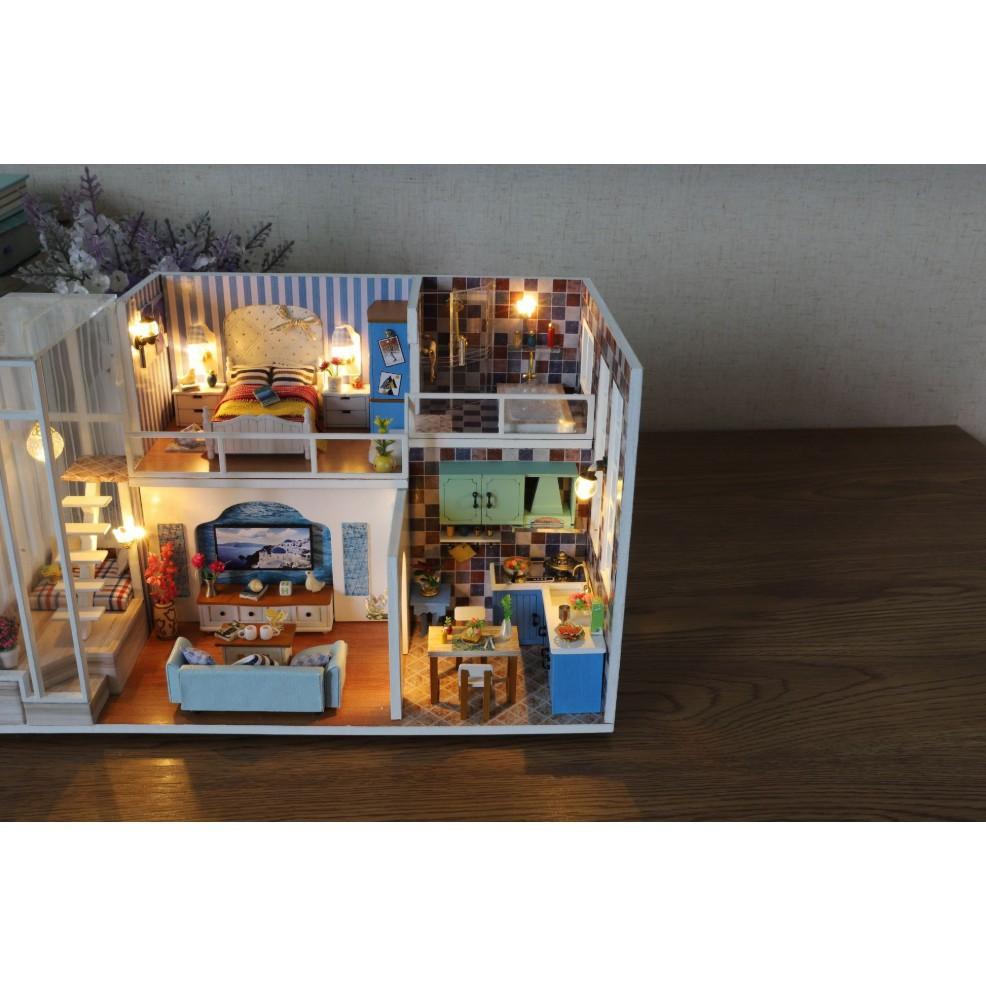 FREESHIP ĐƠN 99K_Mô hình nhà búp bê gỗ - Biệt thự của Tiểu Mễ - Mi Yu villa (có mica...