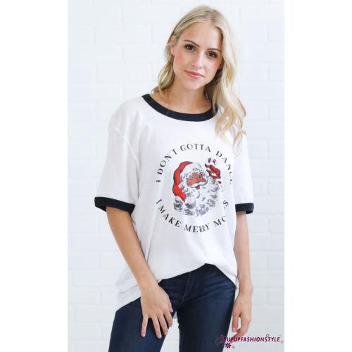 ✽UP✽Women Christmas Short Sleeve Loose Shirts Casual Xmas Santa Cotton Shirt Tops