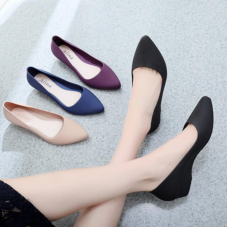 FSS22Feb hoàn 20% tối đa 20k xu Giày nhựa đi mưa 3p hàng chuẩn Alina , giày công sở 3 màu đen, kem, xanh V158