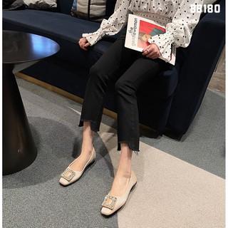 Bệt nữ HHS nhung lì mũi vuông đá O Hà Huyền Shoes - BB180